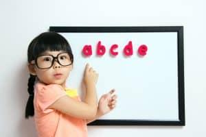 girl glasses abcd board